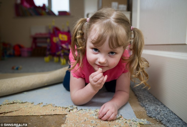 Jessica Knight age 4 who eats furniture and carpet underlay .