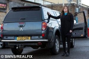 Vicky Liggins, 26, with her Mitsubishi Warrior that was damaged when a charging Rhino smashed into the vehicle, while with her 19 month old daughter Evelyn at West Midlands Safari Park.  February 24, 2015.  A young mum told yesterday (Tue) how a horn-y RHINO caused  of damage when it smashed into her car after mistaking it for a MATE.  See NTI story NTIRHINO.  Vicky Liggins, 26, feared for her life when the three tonne beast started charging towards her Mitsubishi Warrior.  The white rhino caused  worth of damage in the horrifying attack by smashing a back light  and crumpled the rear of the car as well as leaving dents to the driver's side.  A park ranger came to the rescue but incredibly the angry rhino even gave chase as Vicky drove away with her screaming 19-month-old daughter Evelyn in the car.  West Midland Safari Park has now apologised to the bank worker and sent her £250 as a goodwill gesture.  But yesterday (Tue), Vicky, from Halesowen, West Mids., blasted the attraction and said bosses should erect barriers to prevent rhinos wandering in front of vehicles.