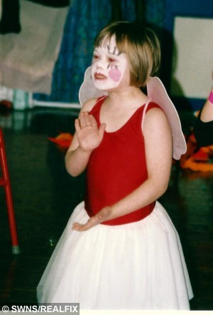 "Collect picture of Beth, aged between 5 & 6 when she first found her love of dancing.  A girl with Down's Syndrome is aiming for the West End after she became the first person in the UK with the condition to make it onto a national training scheme for talented young dancers.  See NTI story NTIDANCER.  Award-winning Beth Gardiner, 20, has been dancing since she was five and used it as a way of getting her ""tears out"" and expressing herself as a child.  The contemporary-style dancer has been enrolled on the Centre for Advanced Training (CAT) scheme since September 2013 and has performed on stages all over Nottingham.  The programme aims to give young dancers the skills they need to make it as professionals and has already helped some bright young stars to achieve their West End break.  Ambitious Beth, a dance teaching assistant with Oakfield Dance in Nottingham, won a prize for dance at the Young Creative Awards ceremony at Nottingham Playhouse earlier this month.  But now she has the West End firmly in her sights and hopes her story will inspire other young people with disabilities to follow in her footsteps.  Yesterday (Tue), Beth - who trains for 10 hours a day - said she has had to endure being ""stared at"" by people in the street and being ignored by others in group conversations."