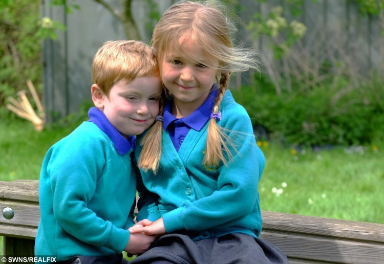Dexter Wilson (4) & Emma Hayes (5).  A five-year-old girl has been hailed a hero after she leapt into action to save the life of her best friend who was choking on his school dinner.  See NTI story NTICHOKE.  Reception pupil Emma Hayes was sitting with her pal Dexter Wilson, four, in her primary school canteen eating their lunch last Thursday (30/4).  But during the meal Dexter started to gasp for air after he began choking on a piece of sausage, which became lodged in his throat.  Remembering techniques she learned from her older brothers the quick-thinking youngster bent him forward and began hitting his back.  Lunchtime supervisor Jodie Knighton, 45, also rushed to the schoolboy's aid and between them they were able to dislodge the meat.  Yesterday (Thurs) Emma's proud mum Stacey Phillips praised her daughter's efforts following the drama at Boughton Primary School, in Northampton.