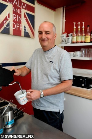 "Alan Kirkwood,47, owner of Buffet Box in Cumbernauld who found the £20 Scottish note with the word ""A random act of kindness, in memory of Mia, age 7, who died in May 2014"".  A cafe owner is searching for a woman who stunned staff with a random act of kindness by leaving a mysterious note and a generous tip before walking off.  See CENTRE PRESS story CPCAFE.  The woman handed over a £20 note with a star-shaped Post-it to the first waitress she saw and then left without buying anything.  The note read: ""A random act of kindness, in memory of Mia, age 7, who died on 1st May 2014""  Staff at The Buffet Box in Cumbernauld, North Lanarkshire had never seen her before but believed she was a local.  And the girl mentioned on the note has no known connection to anyone working at the cafe.   Waitress Danielle Waddell, 24, from Cumbernauld said she was left baffled by the random act of kindness."