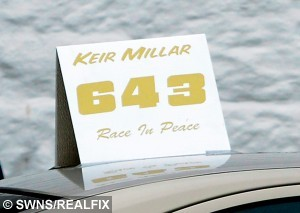 The funeral of 11-year-old stock car racer Keir Millar taking place at Lochmaben Church, Dumfries and Galloway, Scotland, May 22, 2015.