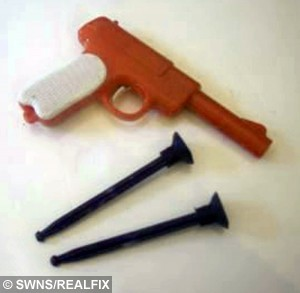 A toy gun with plastic darts similar to the one which Steve Easton had stuck up his nose for 44 years. See SWNS story SWDART: A man who regularly suffered a blocked nose feels like a right sucker after he sneezed out the cause - a toy DART stuck up his nostril for 44 YEARS. Stunned Steve Easton, 51, often had a case of the sniffles or a headache and put it down to hay fever. But his nasal passages are now clear for the first time since he was a toddler after one big blow out last week cleared the problem. He did a massive sneeze and out flew the sucker tip of a toy dart - which had been up his nose since he was a boy.