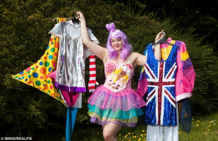 Eve Hazelton from Teignmouth, Devon who is wearing a different fancy dress outfit every day for a year to raise money for charity. See SWNS story SWFANCY; A woman has given up all her clothes to don fancy dress for charity - every day for a YEAR. Eve Hazelton, 28, has decided to empty her wardrobe and donate everything to charity shops to support CoppaFeel, which raises breast cancer awareness. The director of photography came up with the quirky idea to raise cash and contacted fancy dress business Smiffys, who gave her 365 outfits to wear. Eve, of Teignmouth, Devon who will become a Transformer, a pirate, a gorilla and Madonna throughout the year, has said she may turn up to her friends wedding dressed as a BANANA.