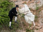 Unique wedding at Wookey Hole takes the romance of tightrope walking couple to new heights