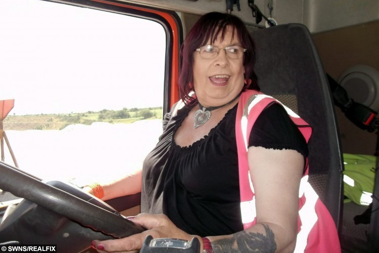 """Collects of Roxann Cuthbertson at work. See SWNS story SWTRUCK; A LORRY driver left workmates stunned when he revealed he wanted to live the rest of his life as woman. But Roxann Cuthbertson - known to trucker pals as Ian for years - was left shedding tears of joy when work-pals showed their total support. Roxy said: """"The reaction when I first went to work as Roxy was 'what the hell is going on'. """"I sat down, talked to them and they told me 'whatever makes you happy'. It took them a while to get to calling me Roxy, but now they do and it's great."""" Roxann, who has been driving HGVs for 40 years, built up the courage to reveal her gender transition after living a double life for decades. Now Roxy - who has also worked as an apprentice mechanic and a doorman - said her workmates even defend her while out on jobs."""