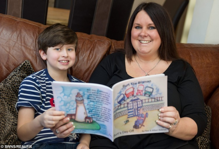 File picture of Fleur Bateman,46, and her son William, 9, from Great Paxton, Cambridgeshire with the children's book they wrote. See Masons story MNBIN; An autistic schoolboy with a passion for recycling is now hoping to clean up with his own kid's TV show - which could be shown on NETFLIX.  William Bateman, nine, bought a full-size rusting bin lorry from Ebay for £3,500 last year on his mum's credit card while her back was turned.  Horrified Fleur Bateman managed to get a refund after realising what he had done.  But since then she has helped William develop his passion for all things recycling and he has now created environmental hero Burt the Binman.  Mum and son joined forces to write a book called 'Burt's Day Off', published in April last year, which has already sold more than 2500 copies.  They now hoping their character will move to the small screen and be as big as Bob the Builder.  The family, from St Neots, Cambs., have been working with animation company IG Media and have made a Burt the Binman pilot episode.  But they have been told the TV industry prefers to buy-in completed projects rather than develop them themselves from pilots.  Amazingly, Netflix have told the family if they can create a series they would be feature it on their site.  The Batemans hope to raise £35,000 in the next 15 days through a crowdfunding campaign launched to raise enough to create the first proper episode. 17 June 2015