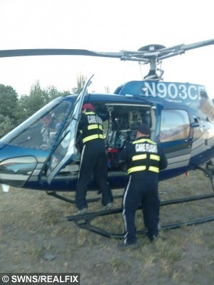 Peter being airlifted to hospital