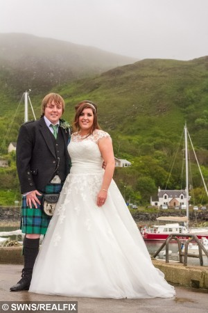 Sophie Anderson and Richard McWhirter getting married on the quay at Mallaig Harbour and not on the lifeboat as plannned. See Centre Press story CPWEDDING; A couple have got married in a harbour – after the lifeboat they were due to wed on got called out to an emergency. Sophie Anderson and Richard McWhirter were due to exchange vows on a lifeboat yesterday (Sat). But at the last minute the RNLB Henry Alston Hewat was called out to a shout, leaving the couple to marry at the harbour-side. The lifeboat was not even the Buckie, Moray couple's first choice of venue, after originally planning to hold the ceremony on the Jacobite steam train at Glenfinnan viaduct.