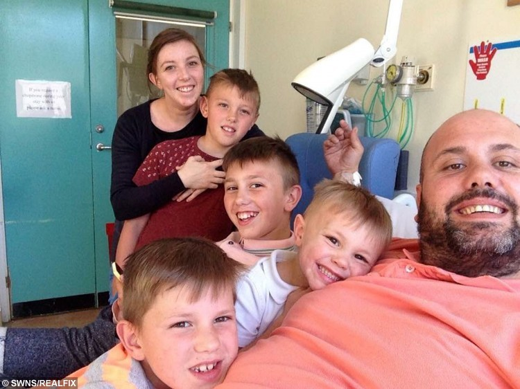 Mike Snell pictured with wife Cerise and their children MJ, 11, Taylor, 10, Rocco, seven, and Logan four still in hospital almost a year after he tore almost every ligament in his left knee on the dancefloor on his wedding night. See SWNS story SWDIRTY; A groom nearly died after he broke his knee on his wedding day - doing the DIRTY DANCING lift. Mike Snell, 36, had just walked down the aisle with his new wife Cerise, 28, when they hit the dance floor for a party with their family and friends. The dad-of-four requested the DJ play classic Time of My Life - made famous for the epic overhead lift - so he could have a romantic dance with his new bride. But he was astonished when his wife's work colleague unexpectedly ran at him, thinking the new groom would lift her up just like Baby in the 1987 movie.