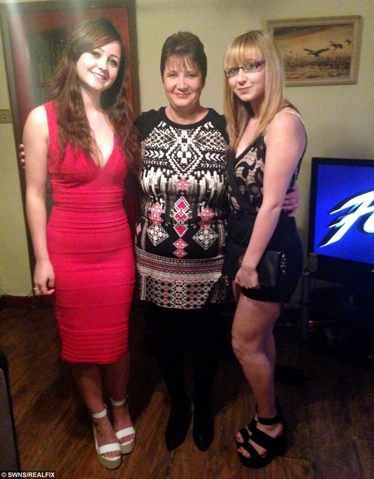 Zoe Turner wearing the red dress which doctors claimed saved her life. She is seen here with her mum Sharon Turner and her sister Jessica Turner. See SWNS story SWDRESS: A Christmas party-goer who was hit by a CEMENT MIXER on her way home was saved by her skin-tight bodycon dress - which stopped her bones piercing her internal organs. University graduate Zoe Turner, 21, splashed out £34.99 on the little red dress from online retailer Missguided and squeezed into it for a festive bash. But disaster struck when her taxi home was hit by a cement mixer, which left Zoe and her three friends with life-threatening injuries. Incredibly, doctors told Zoe that her bodycon dress was so tight it stopped her bones from popping out and perforating her vital organs.