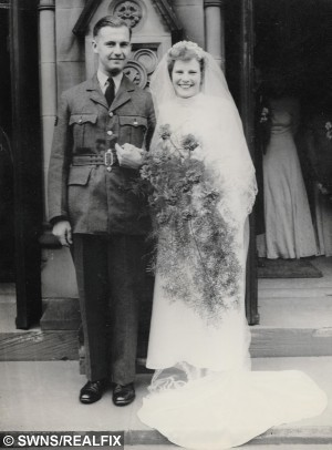 "Ernest and Iris Balliger on their wedding day, May 26 1945. See SWNS story SWHANDS; A loving couple celebrating their 70th anniversary have revealed the secret to their remarkably lengthy marriage – HOLDING HANDS. Iris and Ernest Balliger were pictured holding hands on their wedding day in 1945, and have made time to grasp each other every day since. Iris, 95, met her future husband Ernest, now 93, on the day of his 21st birthday, when they were both working on repairing a radar installation at RAF Barkway in Hertfordshire in 1943. The couple fell in love and got married on May 26, 1945, and posed for the lovely picture outside the church in Nottingham, holding hands. Iris, 95, said: ""When we met there were four of us girls and we were told that four boys were coming in."