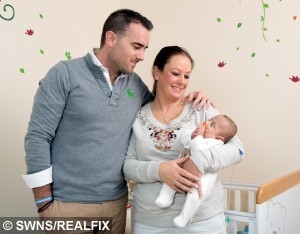 Marc Proctor, 33, Consultant, with Helen Proctor, 34, his wife and Blake Proctor, 6 mths, Southampton. Helen and Marc Proctor spent over £90,000 to have IVF treatment. See SWNS story SWBABY; A couple have finally welcomed their miracle baby into the world - after seven years,  three miscarriages and spending £90,000 on six heartbreaking rounds of IVF. Helen and Marc Proctor started trying for a baby in 2007, with the ex-Marine even taking a year off work in Iraq to concentrate on getting pregnant. But even after seven years without success and three miscarriages, the determined pair refused to give up. Finally Helen, 34, fell pregnant thanks to an anonymous egg donor in Spain last year and welcomed little Blake into their lives in May.