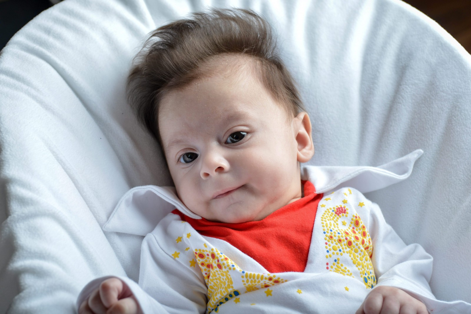 This baby left his parents all shook up with his permanent Elvis-like quiff