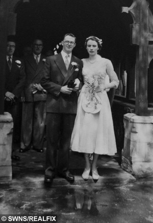 COLLECT - David Emery with wife Muriel Emery on their wedding day in Smethwick on May 14, 1955.  A devoted couple have defied the odds to reach their 60th wedding anniversary after beating cancer four times and surviving 19 HEART ATTACKS.  See NTI story NTICOUPLE.  David Emery, 81, and wife Muriel, 86,  tied the knot on May 14, 1955 but have seen more health scares than most during their marriage.  Muriel has beaten breast cancer twice while her husband has fought off bowel cancer and  Hodgkin's lymphoma – as well as a staggering 19 heart attacks.   The brave couple have put their determination to overcome the deadly conditions over the years down to simply wanting to be there for one another.
