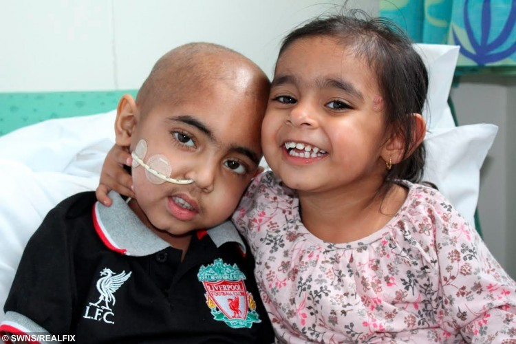 "File picture shows Haseeb Ahmed, from Herringthorpe in Rotherham, whose life is set to be saved by a stem cell donation by his sister Hannah. See Ross Parry copy RPYBLOOD : A youngster with a life threatening blood disease has been completely cured - after receiving his little sister's ""magic blood"". Little Haseeb Ahmed, six, is enjoying life and bursting with energy for the first time in his life. But his sprightliness is a far cry from how he used to be, with his condition meaning his blood struggled to carry oxygen around his body resulting in spells of tiredness. Football lover Haseeb was born with rare disorder beta thalassemia major and was in and out of hospital receiving regular blood transfusions."