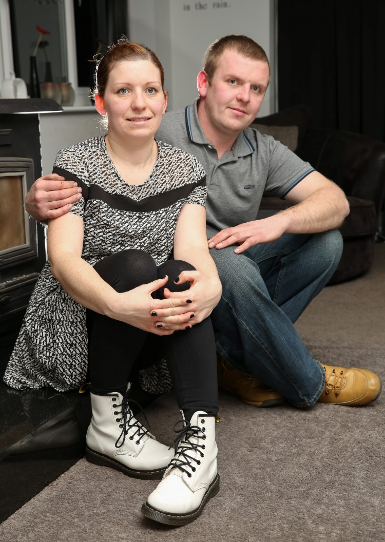 Picture shows Gavin Watson with wife Kelly Watson of Belper,Derbyshire.  See Ross Parry copy RPYFARMER : Gavin was stabbed outside the Hare and Hounds pub at around 10pm on Sunday 20 April 2014, stabbed three times in the chest and abdomen. Michael Charles Turford, 32, was sentenced at York Crown Court Monday 16th. At an earlier hearing he had been found guilty of wounding with intent. He was sentenced to a further two years, to run concurrently, for possession of a knife.  Tom Maddick / Rossparry.co.uk