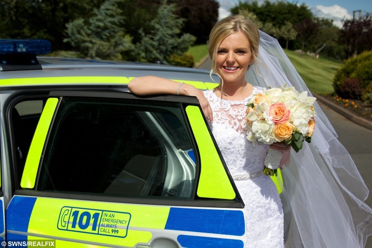 Collects of the wedding of Stephanie Ritchie and David Ritchie at the Lochside House Hotel in New Cumnock where the couple received a helping hand from a passing police car when their own wedding car broke down. See Centre Press story CPBRIDE; A blushing bride spent her special day in the back of a police car - after her bridal vehicle broke down and an officer rushed her to the wedding reception. Bride Stephanie Ritchie has praised the police officer who went beyond the call of duty after passing the scene of the breakdown. Stephanie and groom, David Ritchie, had tied the knot at Thomas Coats Memorial Baptist Church in Paisley before they headed for a reception with friends and family. But the newlyweds were left standing at the side of the road when their car broke down.
