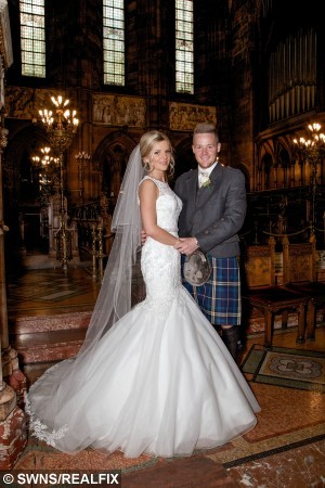 Collects of the wedding of Stephanie Ritchie and David Ritchie at the Lochside House Hotel in New Cumnock, July 25, 2015, where the couple received a helping hand from a passing police car when their own wedding car broke down. See Centre Press story CPBRIDE; A blushing bride spent her special day in the back of a police car - after her bridal vehicle broke down and an officer rushed her to the wedding reception. Bride Stephanie Ritchie has praised the police officer who went beyond the call of duty after passing the scene of the breakdown. Stephanie and groom, David Ritchie, had tied the knot at Thomas Coats Memorial Baptist Church in Paisley before they headed for a reception with friends and family. But the newlyweds were left standing at the side of the road when their car broke down.