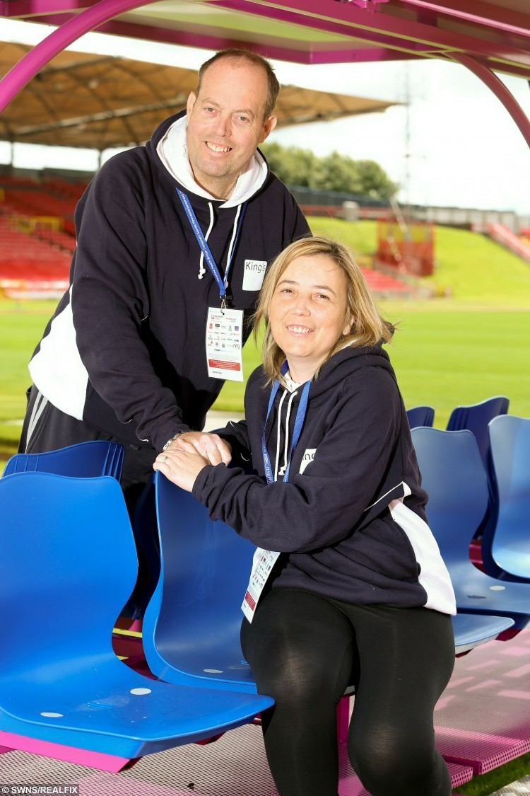"Wayne and Shelley Boden who are both Liver transplant patients and met in hospital, on their honeymoon at The Transplant Games in Newcastle at the Gateshead International  Stadium where Wayne will compete at archery. A couple got married after they met and fell in love while both having LIVER TRANSPLANTS. See swns story SWLIVER. Wayne Boden, 49, was admitted to hospital in 2012 to wait for a liver transplant after his body rejected an earlier one. He met Shelley, 35, who was there for treatment after her body started to battle against a liver transplant she had six months earlier.The poorly pair struck up a friendship and enjoyed dates in the dayroom, as well as walks down the road together until Shelley was discharged.But she returned as a visitor just days later after learning Wayne had his operation and the couple grew closer, with him proposing last year.The pair tied the knot in an emotional ceremony last week - and then headed to both compete in the British Transplant Games in Newcastle for their honeymoon. Nursery nurse Shelley, who had a transplant after suffering autoimmune hepatitis, said: """"If I wasn't in hospital for my rejection we wouldn't have ever met."