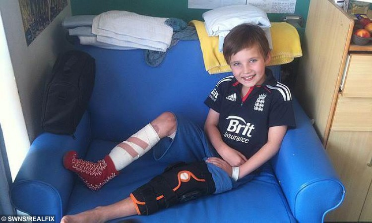 Ali Layard, 12, poses for a photo as he recovers from horrific injuries to his legs.  See SWNS story SWLEGS; A 112 year old Sexey's School pupil has overcome horrific injuries to leave the cricketing world in a spin.  Ali Layard, who is in Year 7, took four wickets in five balls, ending up with six for ten, against an U15 side. Three years earlier, Ali was knocked off a narrow boat and was caught in the propeller, sustaining awful injuries to his legs. He was airlifted to the South West Trauma Hospital, where he stayed for four months and underwent many operations to save and reconstruct his legs. He is now classed as 'disabled' and was only ever expected to be able to walk with a stick and a stiff leg. But the determined Ali was given specialist coaching by Somerset CCC's Paul 'Sid' Lawrence, and help from Sexey's head of cricket Tom Balch, to get back to cricket.