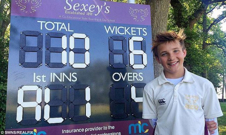 Ali Layard, 12, poses for a photo with his comeback cricket score. See SWNS story SWLEGS; A 112 year old Sexey's School pupil has overcome horrific injuries to leave the cricketing world in a spin.  Ali Layard, who is in Year 7, took four wickets in five balls, ending up with six for ten, against an U15 side. Three years earlier, Ali was knocked off a narrow boat and was caught in the propeller, sustaining awful injuries to his legs. He was airlifted to the South West Trauma Hospital, where he stayed for four months and underwent many operations to save and reconstruct his legs. He is now classed as 'disabled' and was only ever expected to be able to walk with a stick and a stiff leg. But the determined Ali was given specialist coaching by Somerset CCC's Paul 'Sid' Lawrence, and help from Sexey's head of cricket Tom Balch, to get back to cricket.