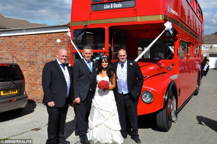 Lisa with her three brothers. Michael on the left gave Lisa away. They are by the bus that took guests to the graveyard to see her parents Nelly and Michael on her wedding day. See SWNS story SWDRESS: The woman who touched millions of hearts when she wore a wedding dress to visit her terminally-ill mum included her dead parents on the big day - by taking 70 guests to visit their graves. Caring Lisa Bullock-Hoskins, 44, finally tied the knot with her partner of 27 years Robert Hoskins, in an intimate ceremony with family and friends. But as a sad tribute to her deceased parents Nelly and Michael, Lisa and Rob took a bus full of 70 guests to Coney Hill cemetery in Gloucester. Grandmother Nelly Bullock, 70, had always wanted to see her beloved Lisa tie the knot, but she was struck down by Creutzfeldt-Jakob Disease (CJD) - a form of the degenerative brain disorder linked to Mad Cow Disease. Her conditioned worsened, and it was clear that Nelly would not live to see their September 7 wedding day, so Lisa made the heart-breaking decision to show her former market trader mum the dress before it was too late.
