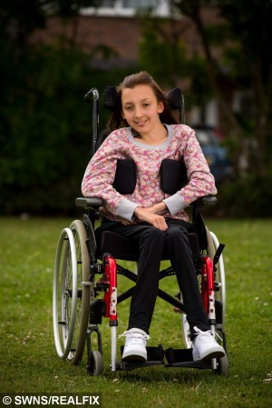 """Megan Luscombe, 18, from Yate, who fought off a mugger at a cash machine. July 30 2015.  See swns story SWMUG. A disabled teenager fought off a callous cashpoint mugger and snatched her money back - despite being in a wheelchair.Megan Luscombe, 18, had just withdrawn #20 to buy a pizza when thief Milan Bugala, 51, pounced on what he thought was an easy target.As he grabbed the cash Megan screamed and grappled with the crook - managing to snatch back one #10 note and tear the second in half.Passers-by then intervened and held homeless Bugala until police arrived to arrest him.Megan has now bravely spoken out about the incident after her attacker was jailed for 18 weeks.She said: """"The man was standing behind me but I didn't realise. He came forward and I thought he was going to help me by passing the money to me.""""When I realised what he was doing I screamed and told him to stop. """"We both had our hands on my money. I was scared but I still wouldn't let go.""""I may be small but I have a strong grip. I can't walk but I'm quite strong with my arms.""""I managed to grab back one #10 note and half of another before two men and two women stepped in.""""Megan has been wheelchair-bound for life because of the inherited muscle-wasting disease Friedreich Ataxia.The incident happened in late June as she shopped in Cheltenham, Glos., for shoes and a handbag for a ball at the nearby National Star College where she studies."""