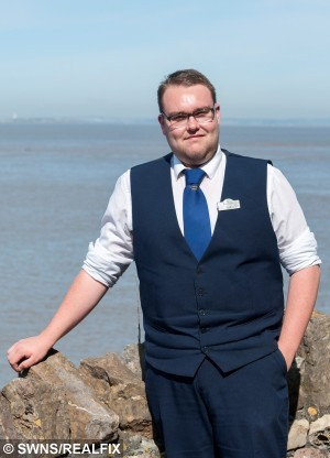 Hotel porter Lee Searle who saved Marie Lord when she 'sleep-walked' half a mile and ended up walking out to sea. See SWNS story SWWALK: A woman has praised a quick-thinking hotel porter who saved her life after she sleep-walked more than half a mile from her home - into the SEA. Marie Lord, 39, got out of her bed at 1.30am, let herself out of the house and walked through the streets onto the beach at the seaside town where she lives.  She scaled a number of steep concrete steps, which she is normally unable to walk down without the aid of her husband, before walking into the sea. Marie suddenly awoke with the taste of sea salt and grit in her mouth as waves crashed around her on the shoreline.