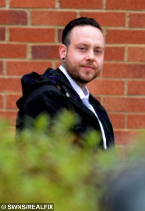 Gavin Golighty, 29, who pleaded guilty to assault causing actual bodily harm at Peterlee Magistrates' Court after he subjected his wife, Amy Dawson, 22, to a terrifying attack on their wedding night. See SWNS story SWBRIDE: A bride was beaten by her new husband on their wedding night - because he couldn't take her dress off, a court heard. Amy Dawson married her long term partner, Gavin Golightly, in a fairytale church service in August last year. The newlyweds, who have a child together, then enjoyed a reception at a country hotel where they were due to stay the night. As they returned to their room, Amy, 22, asked the groom to help her take off her dress but Golightly, 29, refused.