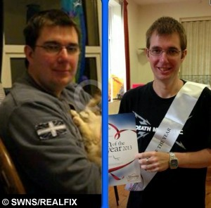 Peter Needham's before and after slimming pictures. See SWNS story SWCHICKEN; A couple who have shed a combined weight of 16 stone say they couldn't have done it without drastically changing their diet- which now includes Weetabix chicken. Peter Needham, aged 36, and his wife, Tracey, 32, both weighed 20 stone back in March 2009. They were due to marry in November of that year, and saw the wedding as the perfect opportunity to slim down. In 8 months, Peter dropped from 20 stone to 13 and Tracey went from 19 and a half to 13. The couple used to spend £50 a week on takeaway, but with the help of a Slimming World diet, which focuses on eating a lot and avoiding particularly fatty foods, they now make all their meals at home. A favoured meal of theirs is Weetabix chicken, a healthy alternative to eating KFC made by coating chicken in a Weetabix crumb mixture.