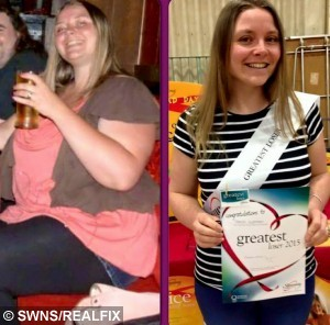 Tracey Needham's before and after slimming pictures. See SWNS story SWCHICKEN; A couple who have shed a combined weight of 16 stone say they couldn't have done it without drastically changing their diet- which now includes Weetabix chicken. Peter Needham, aged 36, and his wife, Tracey, 32, both weighed 20 stone back in March 2009. They were due to marry in November of that year, and saw the wedding as the perfect opportunity to slim down. In 8 months, Peter dropped from 20 stone to 13 and Tracey went from 19 and a half to 13. The couple used to spend £50 a week on takeaway, but with the help of a Slimming World diet, which focuses on eating a lot and avoiding particularly fatty foods, they now make all their meals at home. A favoured meal of theirs is Weetabix chicken, a healthy alternative to eating KFC made by coating chicken in a Weetabix crumb mixture.