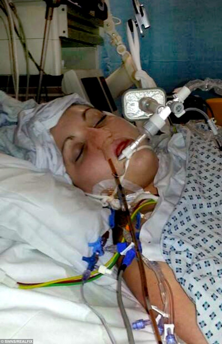 """Jayde Dinsdale in hospital after she was put into a coma following a night out where she drank 10 Jagerbombs. See SWNS story SWBOMB; A teenager suffered three heart attacks and """"died"""" on her bathroom floor after necking TEN caffeine-filled Jagerbombs on a night out. Jayde Dinsdale, 18, downed the shots - made of Jagermeister spirit and Red Bull - on a two-for-one night out with pals. But after the alcohol wore off the caffeine in her system took control of her heart rate - causing it to accelerate dangerously out of control. Her terrified parents watched her suffer two cardiac arrests while they frantically tried to bring her back to life."""