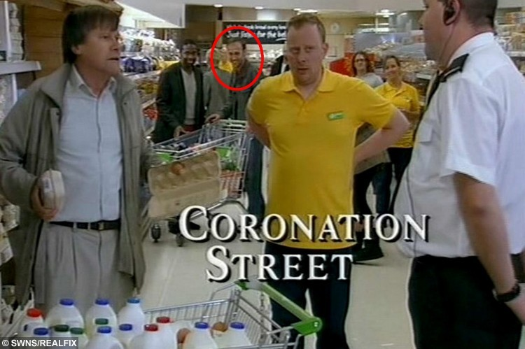 DUDLEY, UNITED KINGDOM, FEBRUARY 13, 2013: John Walker in Coronation Street.  See NTI story NTIEXTRA.  Britain's most dedicated TV extra has been revealed to be a Tesco fish counter worker who has clocked up a staggering 2,000 appearances on the nation's best-loved dramas, soaps and comedies.  John Walker, 40, has been cropping up in the background of over 200 different TV programmes for the last 14 years.  Despite amassing 70 hours on screen - the equivalent of 35 feature length films - John remains unheard of preferring instead to be a face in the crowd.  He has worked on programmes which include, Coronation Street, Eastenders, Dr Who, Gavin and Stacey, Emmerdale Farm and Waterloo Road.
