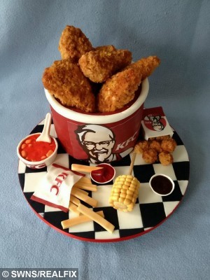 The KFC cake that Laura made for her husband Kyle