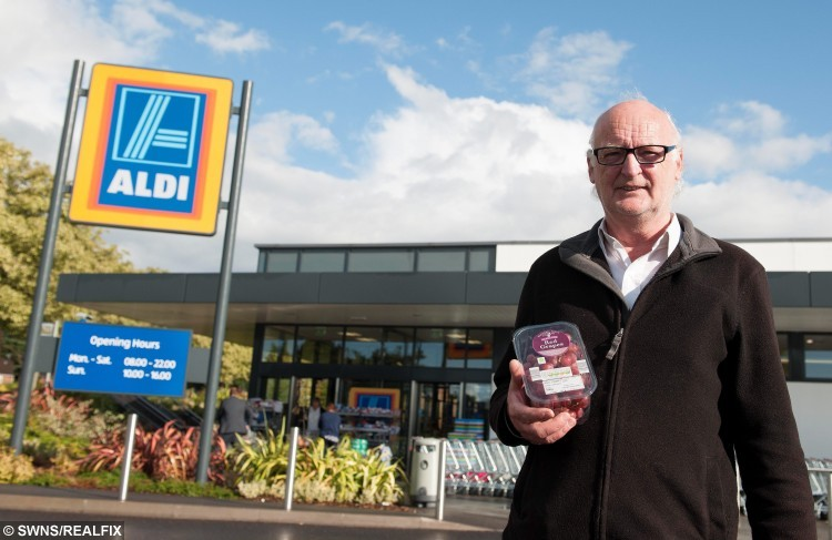 Jamie Swinney, 67, from Warwick, made a scary discovery after finding a live, young black widow spider in a bunch of red grapes, which he had bought from a local Aldi Supermarket in Leamington Spa.  A unsuspecting pensioner was left shocked after he found a deadly black widow spider - crawling in a bunch of Aldi grapes.  See NTI story NTIGRAPES.  Jamie Swinney, 67, reached for a handful of red grapes he had bought from the supermarket when he spotted a black and red insect wriggling in the punnet.  The stunned grandfather recognised the infamous creepy crawly at once, grabbed some clingfilm and wrapped up the lethal critter before dialling 101.  Police called Nuneaton and Warwickshire Wildlife Sanctuary boss Geoff Grewcock, who rushed over, confirmed it was the killer arachnid and took it away.