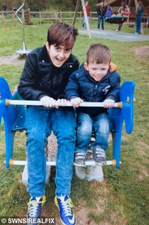 "Sam (left) pictured with brother Kai in the park June 2013. See News Team story NTILIVER: A 15-year-old boy has been left wheelchair-bound with a life-threatening liver disease - after doctors dismissed his symptoms SIX times saying he was just a ""moody teenager."" Sam Fitzgerald was a regular teenage boy only 18 months ago and enjoyed nothing more than a game of football with his friends at school. But in March last year his mum, Jackie Courtney, 41, started to notice a change in her son who wasn't being himself and had an increasingly short temper. She took him to his GP on a monthly basis but on each occasion his problems were dismissed as ""hormones"" and ""teenage problems""."
