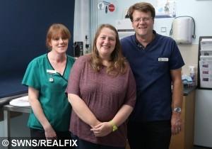 Lizzie Bevis and vet Matthew Fry and nurse Sarah Mainwaring
