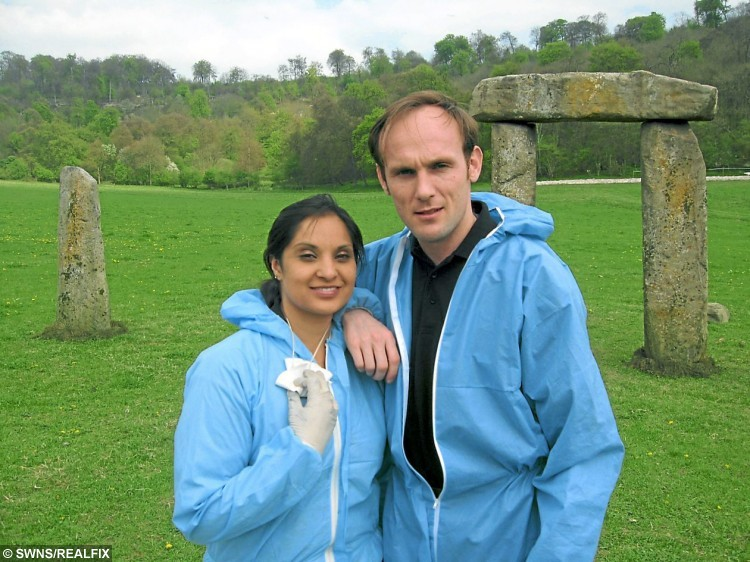 DUDLEY, UNITED KINGDOM, FEBRUARY 13, 2013: John Walker and his fiancee Neilum Raqia on the set of Midsomer Murders. See NTI story NTIEXTRA.  Britain's most dedicated TV extra has been revealed to be a Tesco fish counter worker who has clocked up a staggering 2,000 appearances on the nation's best-loved dramas, soaps and comedies.  John Walker, 40, has been cropping up in the background of over 200 different TV programmes for the last 14 years.  Despite amassing 70 hours on screen - the equivalent of 35 feature length films - John remains unheard of preferring instead to be a face in the crowd.  He has worked on programmes which include, Coronation Street, Eastenders, Dr Who, Gavin and Stacey, Emmerdale Farm and Waterloo Road.