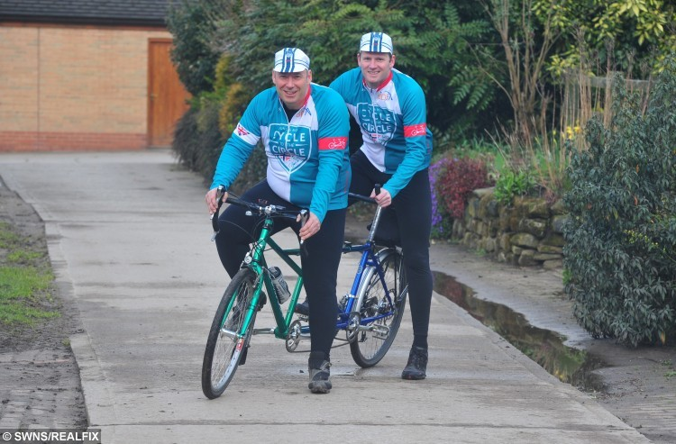 """Rod Wark and Duncan Brownnutt who are riding to the Arctic. See Ross Parry copy RPYARCTIC : A dad whose two children were both diagnosed with a rare incurable illness days before Christmas has set out on a 500-mile bike ride to the Arctic Circle - on a TANDEM. Duncan Brownnutt, 40, alongside family friend Rod Wark, has flown to Norway to take on a 500-mile tandem bike ride to the Arctic Circle to help raise funds for the Batten Disease Family Association (BDFA). DuncanÃs children, Ellie Mae, six and Caleb, five were both diagnosed with Late Infantile Batten Disease days before Christmas in 2013.Duncan, from Leeds, West Yorks., said: """"They were diagnosed on 20 December 2013. The doctor could tell Ellie Mae had the condition due to the results of a second MRI scan which showed her brain was shrinking."""