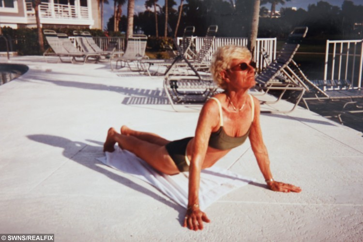 Picture shows Betty Marshall, of Scarcroft in West Yorkshire, practising yoga in Florida nearly 20 years ago. See Ross Parry copy RPYYOGA. A great-grandmother-of-seven is still flexing away aged 85, thanks to her love of YOGA. Yoga fanatic Betty Marshall has been practising the art for more than 40 years, and says it has transformed her life, making her fitter and very flexible. Mrs Marshall has taught classes for 42 years and has even used it help people with multiple sclerosis and stroke victims. Ian Hinchliffe / Rossparry.co.uk