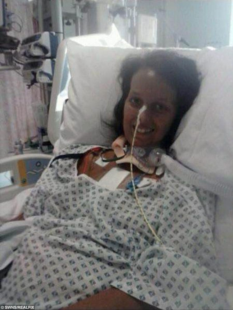 "Louise Grimshaw from Leigh, Lancs., in hospital 27 August 2015. Louise was told she had anxiety when in fact it was a rare heart condition. See Ross Parry Copy RPYHEART : A young mum turned BLACK after her GP failed to spot a life-threatening illness which could kill her by the age of 30. The family of Louise Grimshaw, 20, say a doctor failed to spot signs of the rare Addison's Disease, despite her father having to carry her into the surgery as she couldn't walk. Her family was told to ""take her home and feed her up"" but now say she has as little as nine years left to live and an urgent heart transplant is her only chance of survival. The GP has been rapped by the General Medical Council who said he failed to carry out an adequate examination."