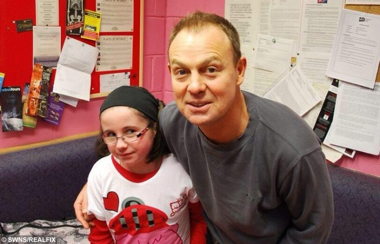 Neve Johnstone with Jason Donavan. See Centre Press story CPSELFIE; A little girl with a rare bone disease has made it her mission to meet as many celebrities as possible to raise money for charity. Neve Johnston, 12, from Falkirk, was born with Osteogenesis Imperfecta, a disease which causes a personÃs bones to become brittle and prone to breaking. But for the last few years, Neve has been raising money for Hearts and Minds, by getting selfies with celebrities. Hearts and Minds is charity group of clown doctors who treat and entertain young patients, and Neve has had her photograph has already managed to get 15 celebrities in the bag.