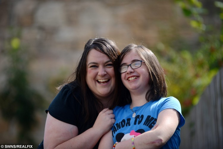 Proud mum Lesley-Ann Johnston with daughter Neve, aged 12 from Falkirk, who suffers from  brittle bone disease, is aiming to get as many selfies with celebrities to raise money for charity.  One of the UK's youngest celebrity hunters is aiming to get as many selfies with stars as she can in a bid to raise money for charity. Neve Johnston, 12, set herself the challenge after she was born with brittle bone disease and spent much of her young life going in and out of hospital. Her condition, Osteogenesis Imperfecta, causes a her bones to become brittle and prone to breaking.17/08/2015