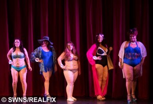 Competitors take part in the swimwear round at the Miss British Beauty Curve 2015 pageant
