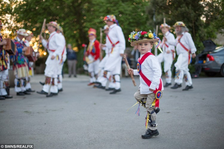 Harrison shows off his skills alongside the Gloucestershire Morrismen