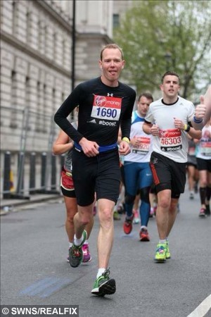 Collect of Scott Allen from Plymouth, Devon, at the London Marathon. See SWNS story SWCOW: A British runner has been powered across the finish line in EIGHT marathons - using the heart of a COW. Determined Scott Allen, 34, feared his running days were behind him after he failed a medical for the Rome Marathon two years ago. He was immediately pulled from the race after being diagnosed with the potentially fatal aortic regurgitation - a leaky heart valve. The shop worker then became so weak that he was unable to summon the strength even to make a cup of tea and needed open heart surgery that involved getting a valve replacement from a cow.