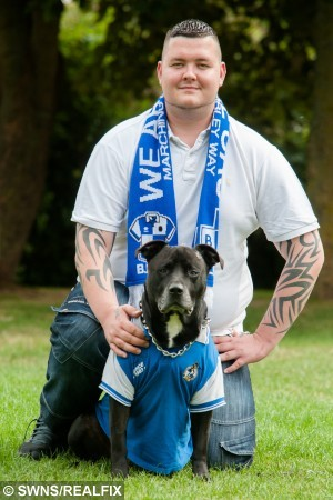 Byron Taylor, 23, poses for a portrait with his dog Geo, a 6 year old Rare Welsh Mastiff, at home in Slimbridge, Gloucestershire, England. August 11 2015. Taylor credits Geo with saving his life after he chewed up a noose Taylor had made to use to commit suicide.  See SWNS story SWDOG: A suicidal man says his life was saved by his DOG - which grabbed his noose and chewed it up. Byron Taylor, 23, says he would not be here if it were not for Geo a six-year-old Rare Welsh Bull Mastiff. Byron was at his lowest point and tried to end his life by hanging himself, only for his normally passive dog to step in. Geo grabbed the noose and wouldn't give it back, even growling as Byron tried to wrestle it back.
