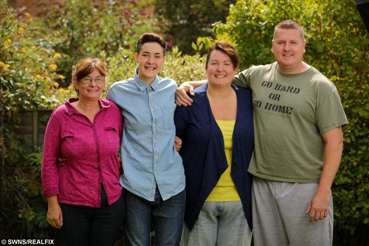 Riley Middlemore, 16, (2nd left)from Gloucester, with nan Ann Butt (left), Mum Carrie Godwin (2nd right) and Dad Phil Godwin (right). A transgender teenage girl who is becoming a man is freezing his eggs - so he can become a biological dad in the future. Riley Middlemore, 16, was born a girl called Rebecca, but revealed to his family last year that he wanted to have a gender change. He is set to have a full sex change once he is aged 18 - including a mastectomy, hysterectomy and penis construction. But the brave teen - who binds his 34C chest and shaves his long brown hair - has decided he wants to freeze his eggs first so any child he has will be biologically related. August 16 2015.
