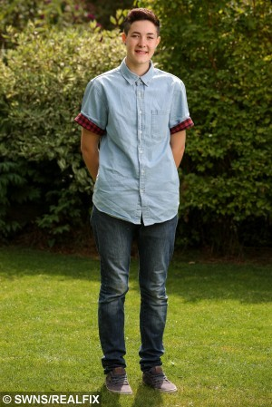 Riley Middlemore, 16, from Gloucester. A transgender teenage girl who is becoming a man is freezing his eggs - so he can become a biological dad in the future. Riley Middlemore, 16, was born a girl called Rebecca, but revealed to his family last year that he wanted to have a gender change. He is set to have a full sex change once he is aged 18 - including a mastectomy, hysterectomy and penis construction. But the brave teen - who binds his 34C chest and shaves his long brown hair - has decided he wants to freeze his eggs first so any child he has will be biologically related. August 16 2015.